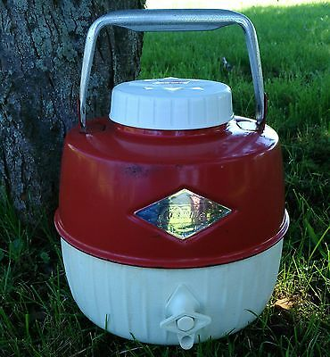 Vintage 60's Coleman Red Thermos Water Cooler Jug Aluminum Handle 1 Gallon