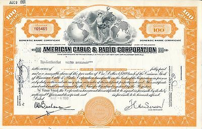 American Cable&Radio Corp. 6.3.1950 -100 Shares, später ITT