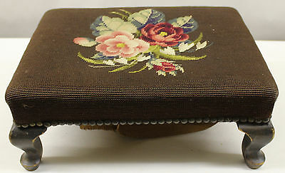 Vintage Antique Needlepoint Brown Foot Stool