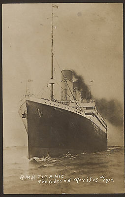 White Star Line RMS Titanic at Sea. Post Sinking Real Photo Postcard