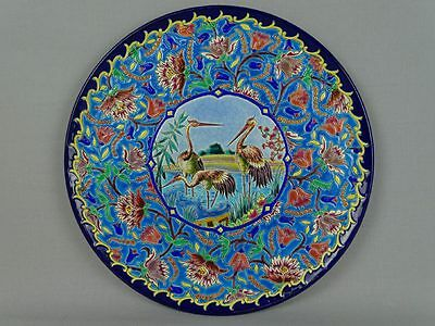 Grand plat coupe aux émaux de Longwy French Longwy enameled pottery Majolica