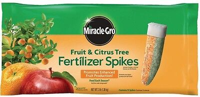 Miracle-Gro 3 Lb Fruit And Citrus Tree Fertilizer Spikes 12-Pack Home Gardening