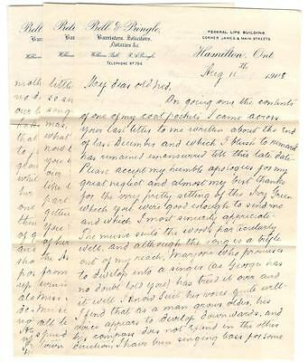 1908 Hamilton, Ontario Bell & Pringle Lawyers 3 Page Letter w/ Letter Head