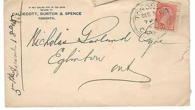 1898 Toronto, Ont. 3 Ring Orb Cancel 3c SQ Cover > Eglinton, Ont. Split Ring
