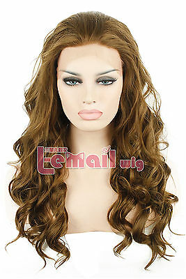 55cm/22inch Long Light Brown Womens Curly Wave Synthetic Lace Front Wig Hair NEW