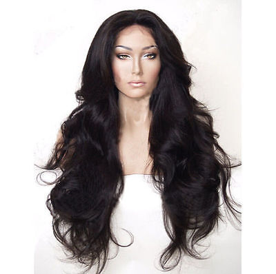 """24""""Heat Resistant Wig Lace front Wig Synthetic Hair Natural Wavy Black Color"""