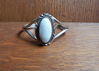 Vintage Navajo Signed Sterling Silver White Buffalo Turquoise Cuff Bracelet