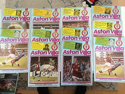 aston villa home program bundle 1977/78 x 11