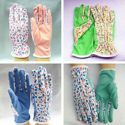 Nicely 1 Pair Gardening Women Soft Jersey Garden Gloves One Size FO