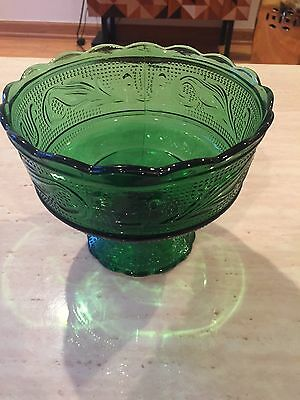 Jade Green EO Brody Glass Raised Bowl Dish Patterned Depression Era Vintage Rare