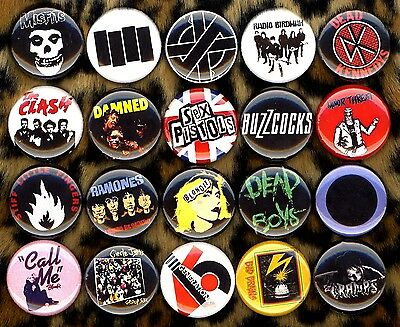 Punk button pin set of 20 blondie ramones clash misfits damned germs sex pistols