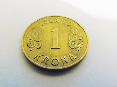 Antique 1946 Island 1 One Krona Coin Vintage Iceland