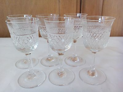 Vintage Set of Six Small Cut Glass Liqueur Shot Sherry Glasses