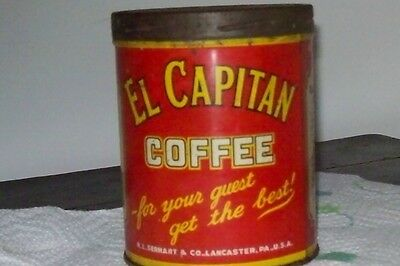 vintage EL CAPITAN 1lbCOFFEE tin can with lid