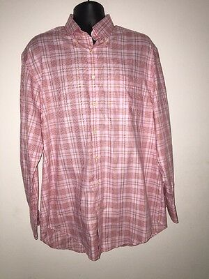 Peter Millar Red/White Men's Checkered Long Sleeve Button Down Shirt Size L