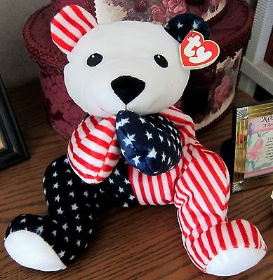SPARKLER The Pillow Pals Col ty MINT Red White & Blue Bear Stars & Stripes NEW