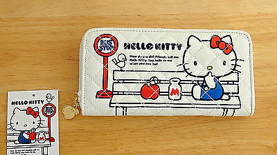 NWT Sanrio Hello Kitty Long Wallet with Quilted Apple Design in White