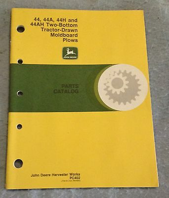 John Deere 44 44A 44H 44AH two bottom tractor drawn plows parts catalog PC402