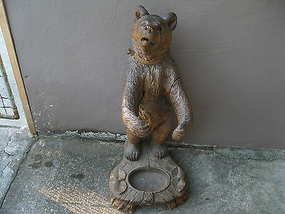 "brienz black forest bear  umbrella stand, 33""H early circa 1880 great details"