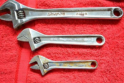 "SNAP ON Tools Adjustable Wrench  12"" 8"" 6""  LOT Set 3 PC Blue Point"