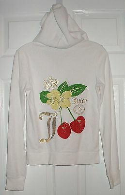 Womens JUICY COUTURE Size S White Velour Cherry Hoodie Jacket Zip