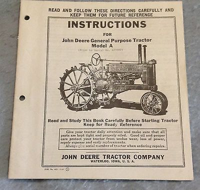John Deere General Purpose Model A operators manual DIR. No. 102
