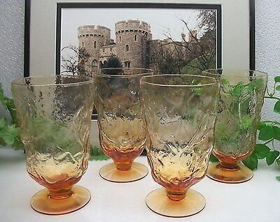 4  Seneca Glass DRIFTWOOD CASUAL Amber Gold 12 oz. Footed Water Iced Tea Glasses