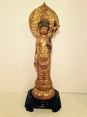 Vintage Quan Yin-Kwan Yin Gold Gilt Cast Iron Statue Buddhist Diety 18""