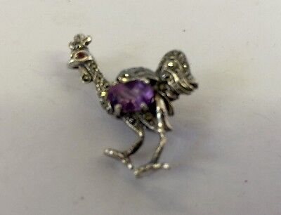 Great Sterling Silver Stone Set Rooter Brooch