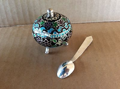 Tiny Ornate Silver Sugar Bowl W/ Spoon As Is