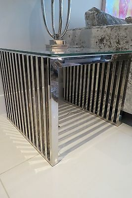 Eichholtz S/steel Side Table – Carlisle – With Glass Topper – Great Condition