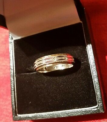 9ct Gold Hallmarked Eternity Ring with small white stones - Size M