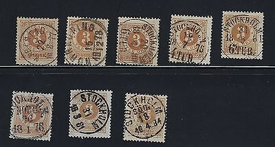 Sweden Scott 28 X 8 With Town Cancels