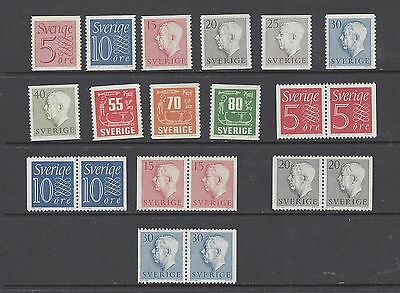 Sweden Scott 503-517 MNH With pairs  Scott $ 11.50