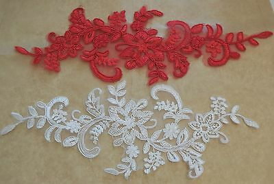 red ivory white floral tulle lace applique bridal wedding floral lace motif