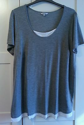 Plus size Summer Top-26. Grey with White trim. Short sleeves.