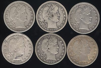 6 Genuine Different Silver Barber 25c with Fine Details