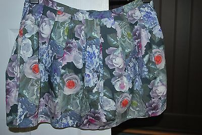 Girl's/Ladies TOPSHOP Lined Floral Stretch Full Mini Skirt Size 14  EU 42 - VGC