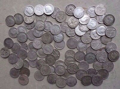 HOARD OF 90 x SILVER THREEPENCE COINS MIXED DATES. 3d JOB LOT. CHRISTMAS PUDDING