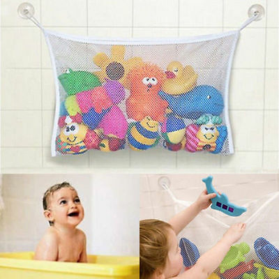 Baby Kids Bath Time Toy Tidy Storage Suction Cup Bag Mesh Bathroom Organiser FO