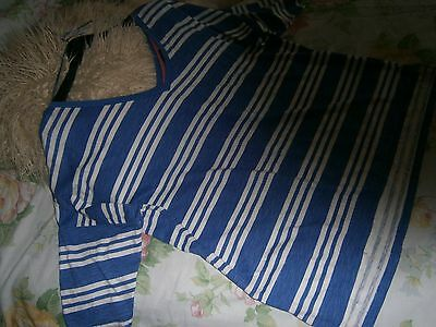 BLUE/white STRIPEY summer TOP size 16 cotton CASUAL lightweight COMFY fabbie!