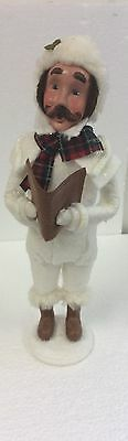 Byers Choice White Winter Man With Mustache Caroler Holding Song Book