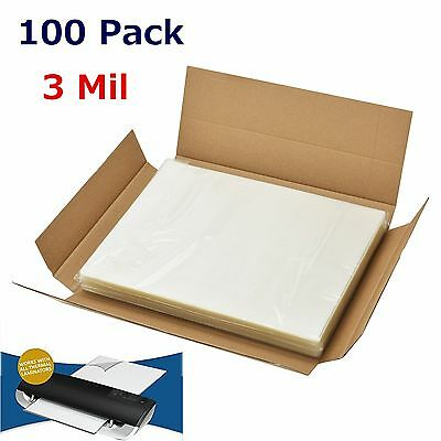 """3 Mil Letter Size Thermal Laminator Laminating Pouches 100 Pack 9"""" x 11.5"""" Sheet"""