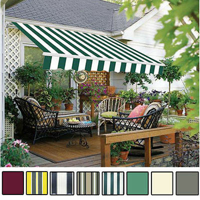 Manual Awning Canopy Patio Garden Sun Shade Shelter Green Rain Cover Top Fabric