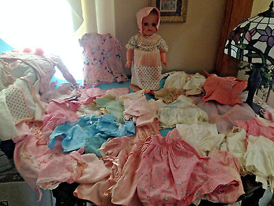 BABY DOLL OLD DRESSES Bonnets Hat Organdy Lace Embroider Antique VTG Clothes LOT
