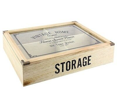 Shabby Chic Large Glass Wooden Storage Display Box Vintage Home 4 Compartment