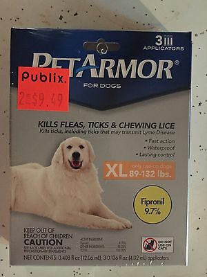 PetArmor for Dogs XL 89-132lbs 3 Applications Pet Armor Fipronil Fleas and Ticks