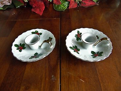 2 Christmas Lefton China Candle Stick Holders Hand-Painted Made In Japan