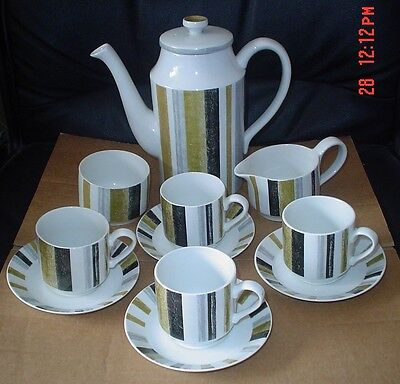 Midwinter Staffordshire QUEENSBURY Coffee Pot Sugar Bowl Cream Jug Cups Saucers