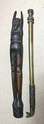 antique carved wood bronze 19th Century Japanese Ashinaga Bronze Kiseru man Pipe